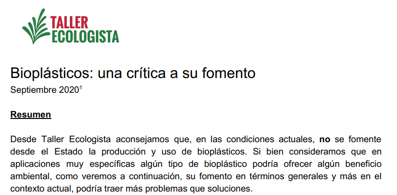 Bioplásticos: una crítica a su fomento (Documento)