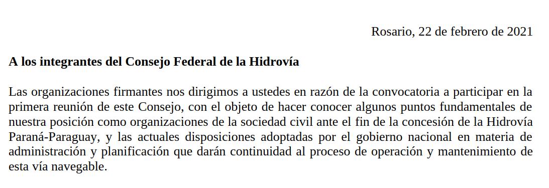 Nota enviada al Consejo Federal de la Hidrovía: posición organizaciones