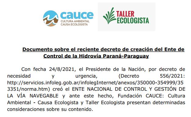 Documento sobre el decreto de creación del Ente de Control de la Hidrovía Paraná-Paraguay